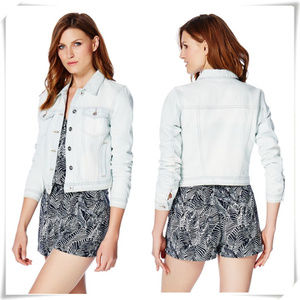 Light Wash Tall Crop Short Distressed Denim Jacket